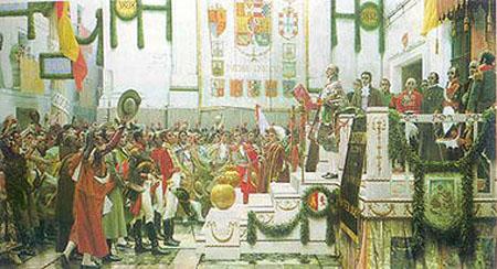 Promulgación de la Constitución de 1812, pintura de Salvador Viniegra.