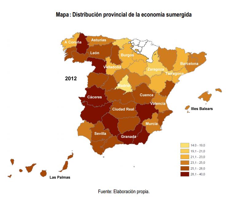 Mapa distribución provincial de la economía sumergida en España 2012 Gestha