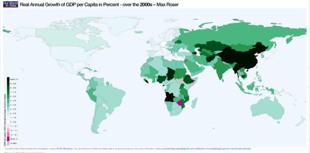 Crecimiento PIB Real Anual Años 2000 Mundo