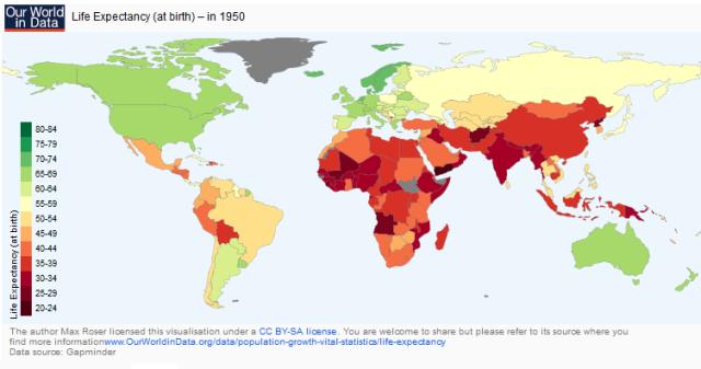 Esperanza de vida en el mundo 1950