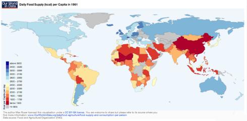 kilocalorias per capita en el mundo en 1961