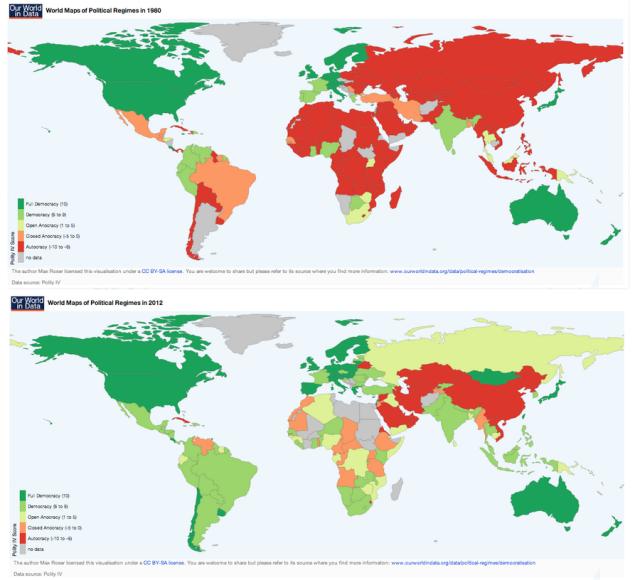 Mapa democracia dictadura 1980-2012